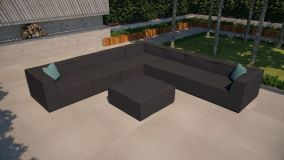 Maze Lounge - Outdoor Fabric Large Apollo Corner Sofa Group - Charcoal