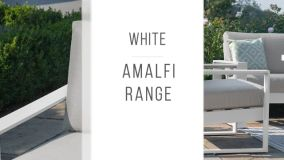Maze - Amalfi 2 Seat Sofa Set with Rising Table - White