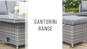 Maze Rattan - Santorini Rectangular Corner Dining Set - With Rising Table