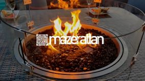 Maze Rattan - Winchester - Heritage 6 Seat Oval Fire pit Dining Set