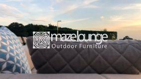 Maze Lounge - Outdoor Fabric Regal 4 Seat Round Bar Set - Taupe