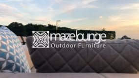 Maze Lounge - Outdoor Fabric Regal 6 Seat Rectangular Bar Set - Taupe