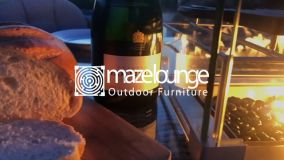 Maze Lounge - Outdoor Fabric Regal 8 Seat Rectangular Bar Set - With Fire Pit Table - Taupe