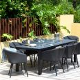 Maze Lounge - Outdoor Fabric Ambition 8 Seat Rectangular Dining Set - With Fire pit Table - Charcoal