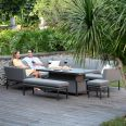 Maze - Outdoor Fabric Pulse Rectangular Corner Dining Set - With Rising Table - Flanelle