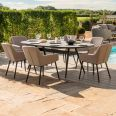 Maze Lounge - Outdoor Fabric Zest 6 Seat Oval Dining Set - Taupe