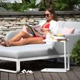 Maze Lounge - Outdoor Fabric Unity Double Sunlounger - Lead Chine