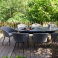 Maze Lounge - Outdoor Fabric Ambition 8 Seat Oval Dining Set - Flanelle