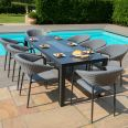 Maze Lounge - Outdoor Fabric Pebble 8 Seat Rectangular Dining Set - With Fire pit Table - Flanelle