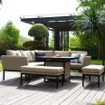 Maze Lounge - Outdoor Fabric Pulse Square Corner Dining Set - With Fire pit Table - Taupe