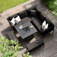 Maze Lounge - Outdoor Fabric Pulse Square Corner Dining Set - With Fire pit Table - Charcoal