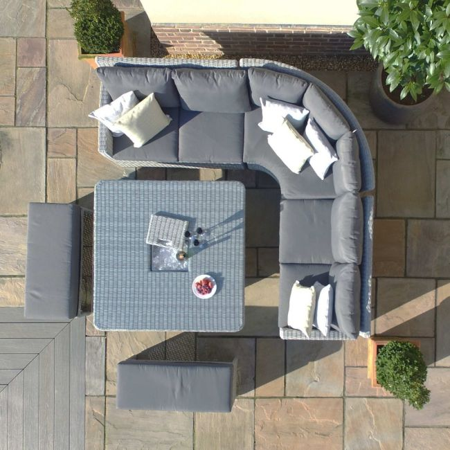 Maze Rattan - Ascot Deluxe Corner Dining Set - With Rising Table, Ice Bucket & Weatherproof Cushions