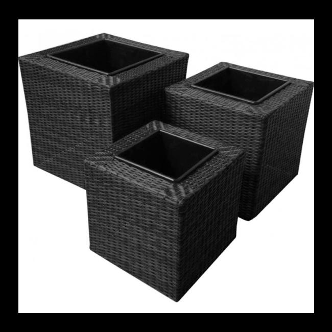 Maze Rattan - Planters Set Square - Black