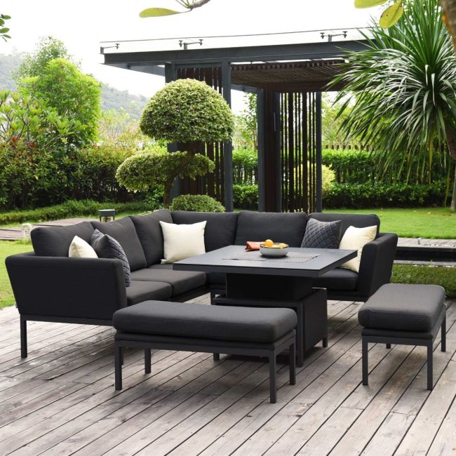 Maze Lounge - Outdoor Fabric Pulse Square Corner Dining Set - With Rising Table - Charcoal