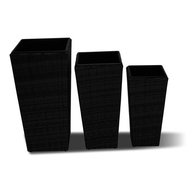 Maze Rattan - Planters Set Tall - Black