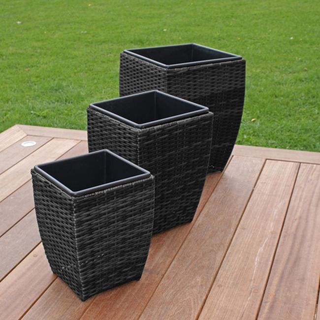 Maze Rattan - Planters Shaped - Grey