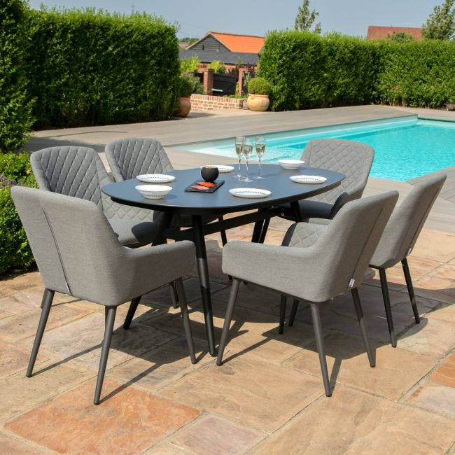 Maze Lounge - Outdoor Fabric Zest 6 Seat Oval Dining Set