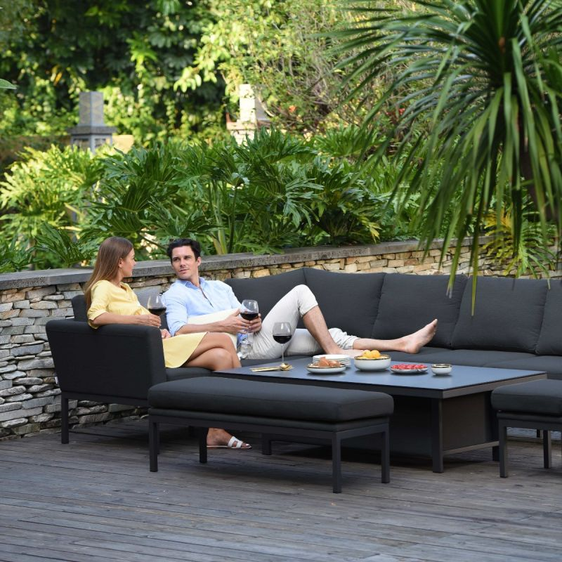 Maze - Outdoor Fabric Pulse Rectangular Corner Dining Set - With Rising Table - Charcoal
