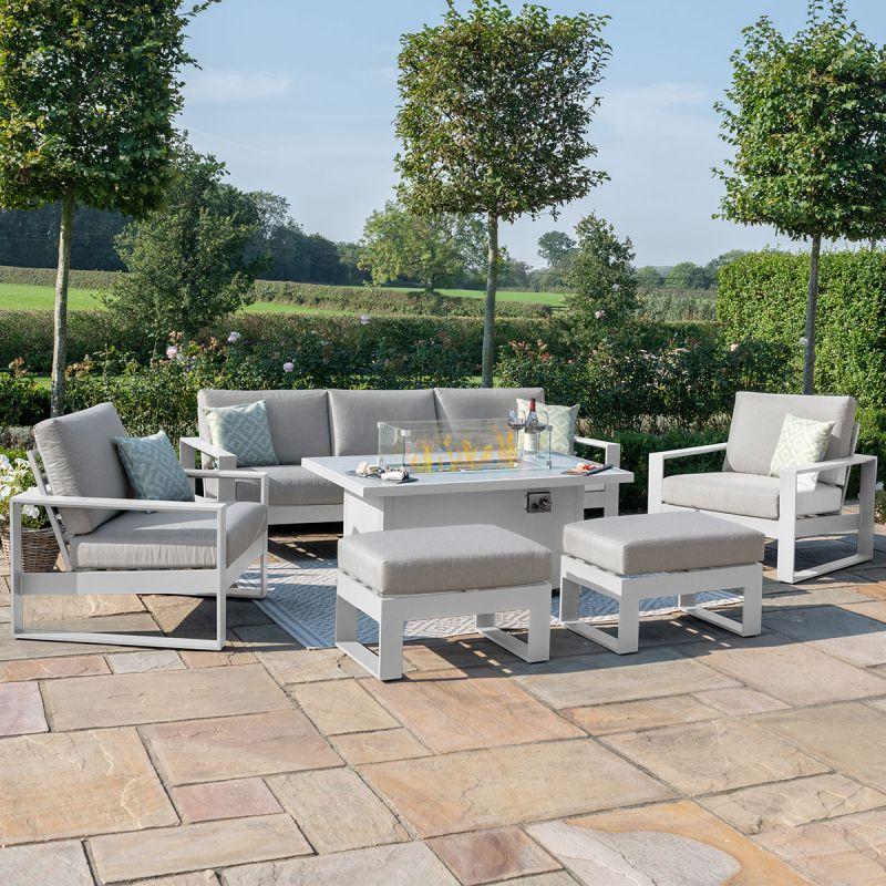 Maze - Amalfi 3 Seat Sofa Set with Firepit Table - White