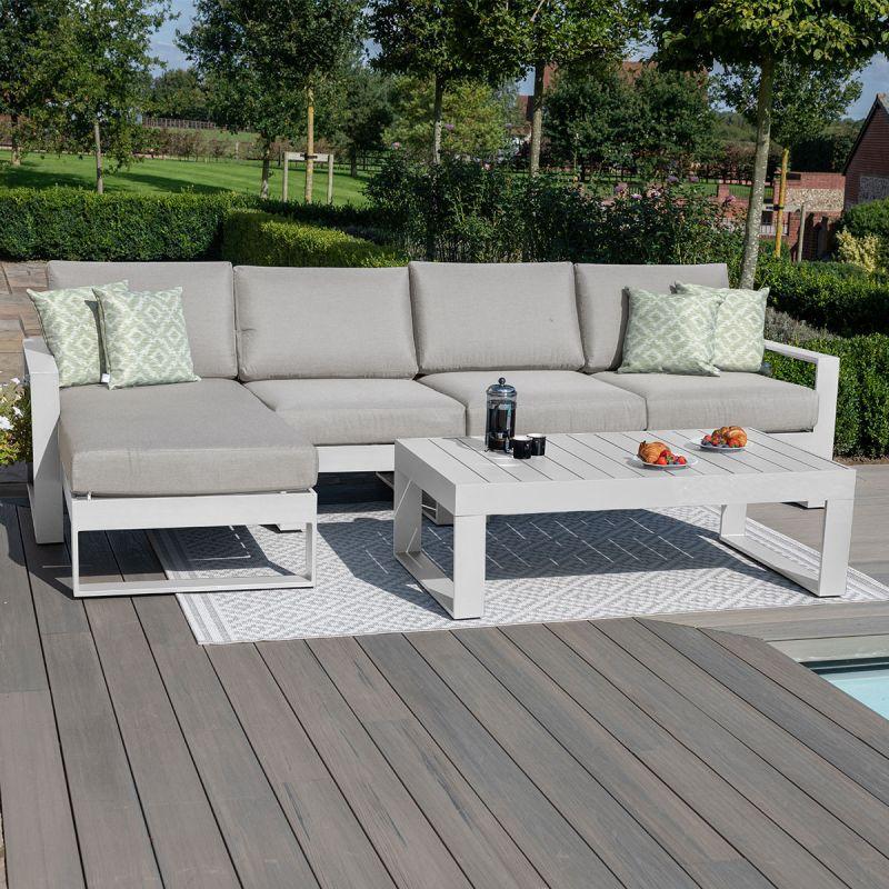 Maze - Amalfi Chaise Sofa Set - White