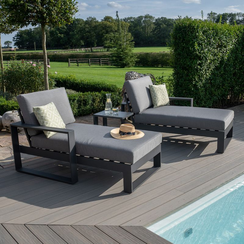 Maze - Amalfi Double Sunlounger with Side Table