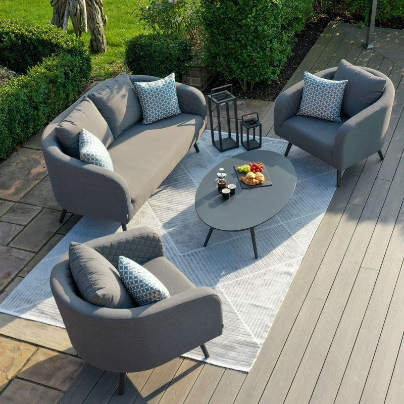 Maze Lounge - Outdoor Fabric Ambition 2 Seat Sofa Set - Flanelle