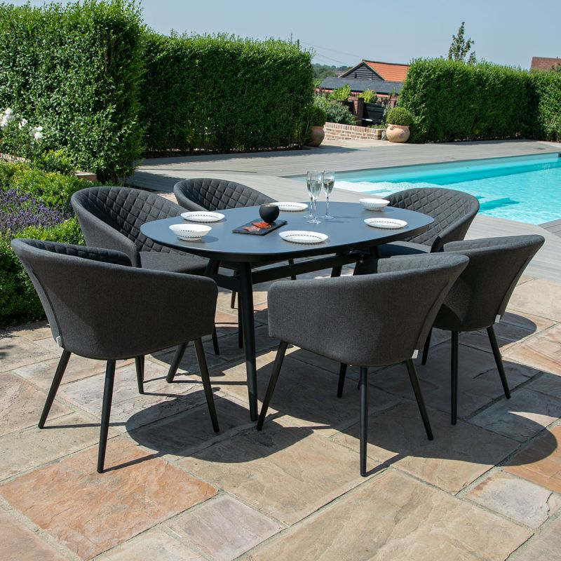 Maze Lounge - Outdoor Fabric Ambition 6 Seat Oval Dining Set - Charcoal