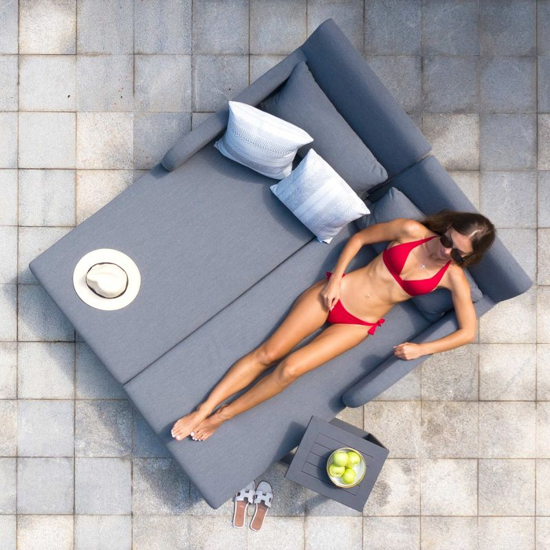 Maze Lounge - Outdoor Fabric Unity Double Sunlounger - Flanelle
