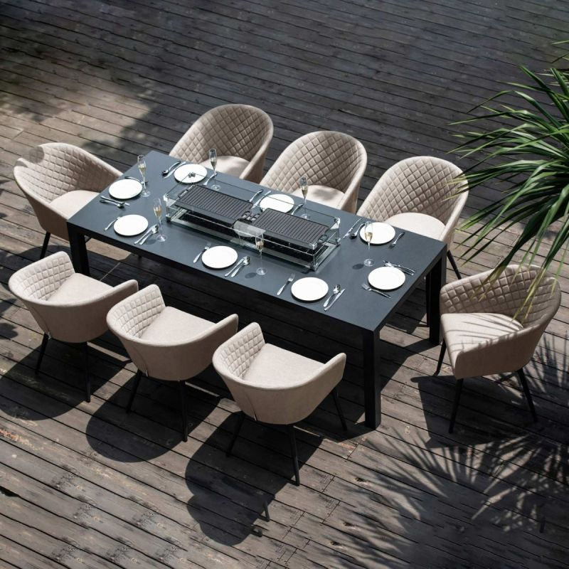 Maze Lounge - Outdoor Fabric Ambition 8 Seat Rectangular Dining Set - With Fire pit Table - Taupe