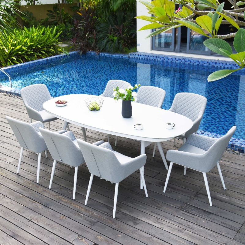 Maze Lounge - Outdoor Fabric Zest 8 Seat Oval Dining Set - Lead Chine