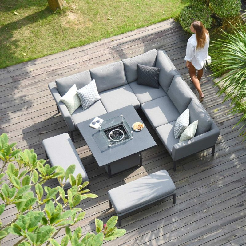 Maze Lounge - Outdoor Fabric Pulse Square Corner Dining Set - With Fire pit Table - Flanelle