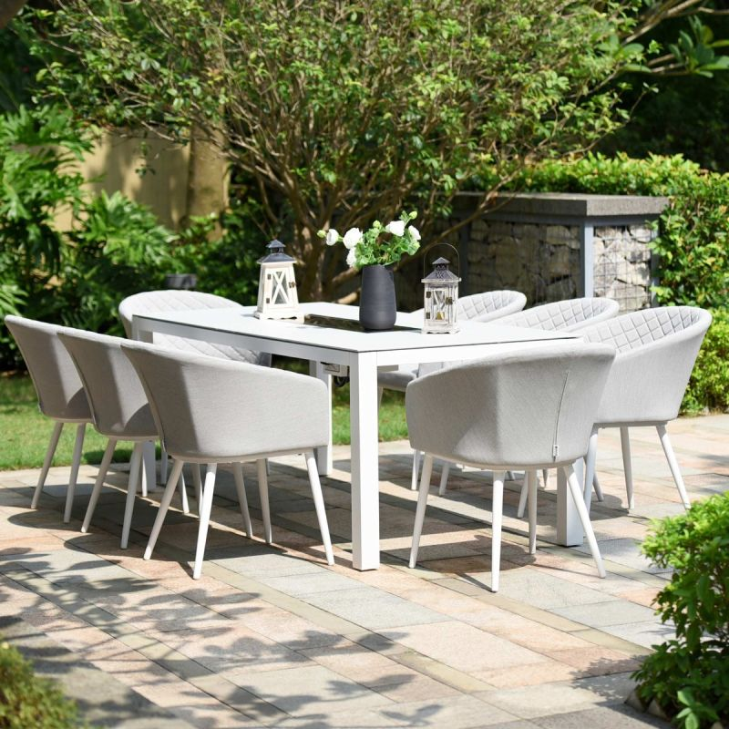 Maze Lounge - Outdoor Fabric Ambition 8 Seat Rectangular Dining Set - With Fire pit Table - Lead Chine