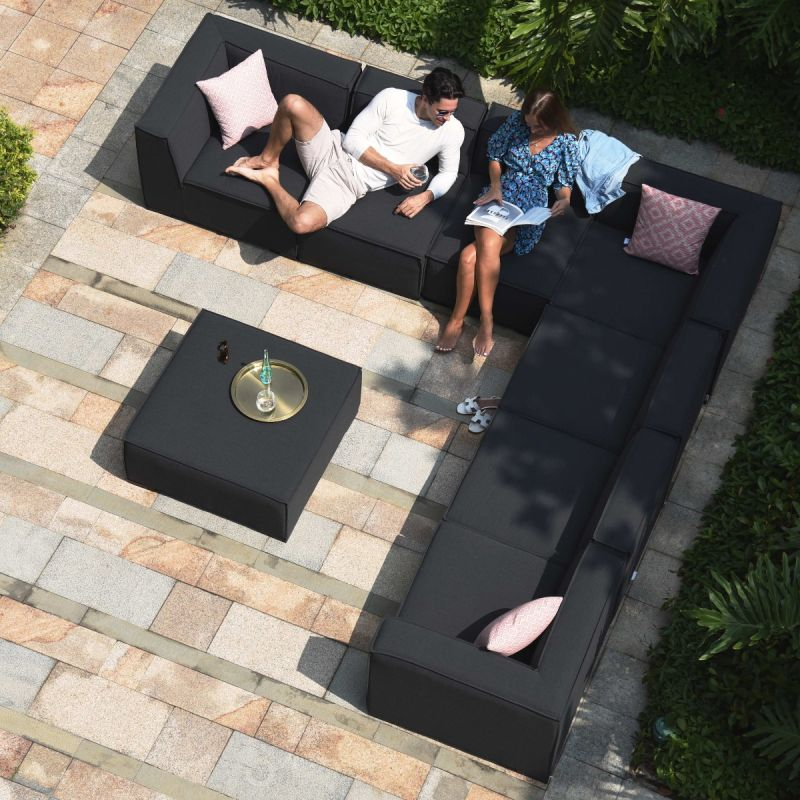 Maze Lounge - Outdoor Fabric Large Apollo Corner Sofa Group - Charcoal