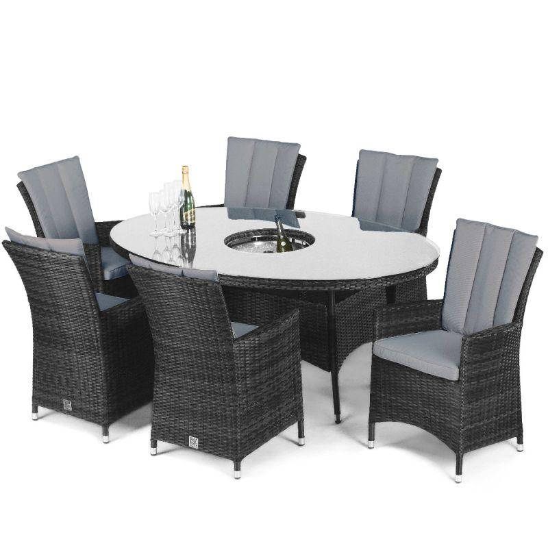Maze Rattan - LA 6 Seat Oval Dining Set - With Ice Bucket - Grey