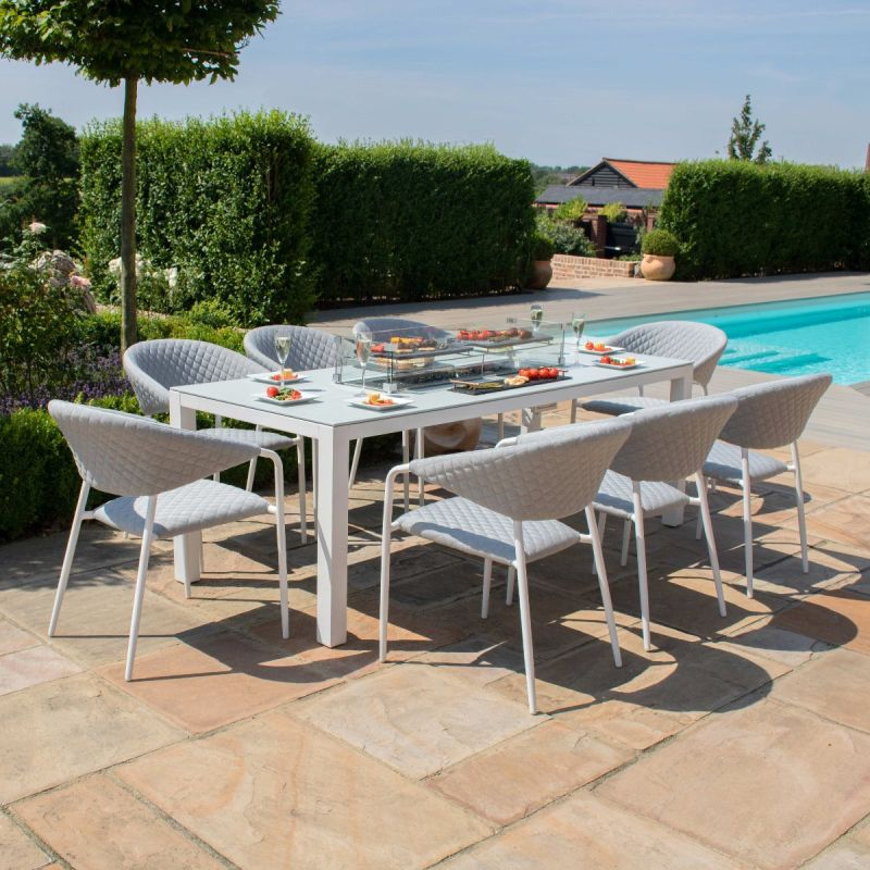 Maze Lounge - Outdoor Fabric Pebble 8 Seat Rectangular Dining Set - With Fire pit Table - Lead Chine