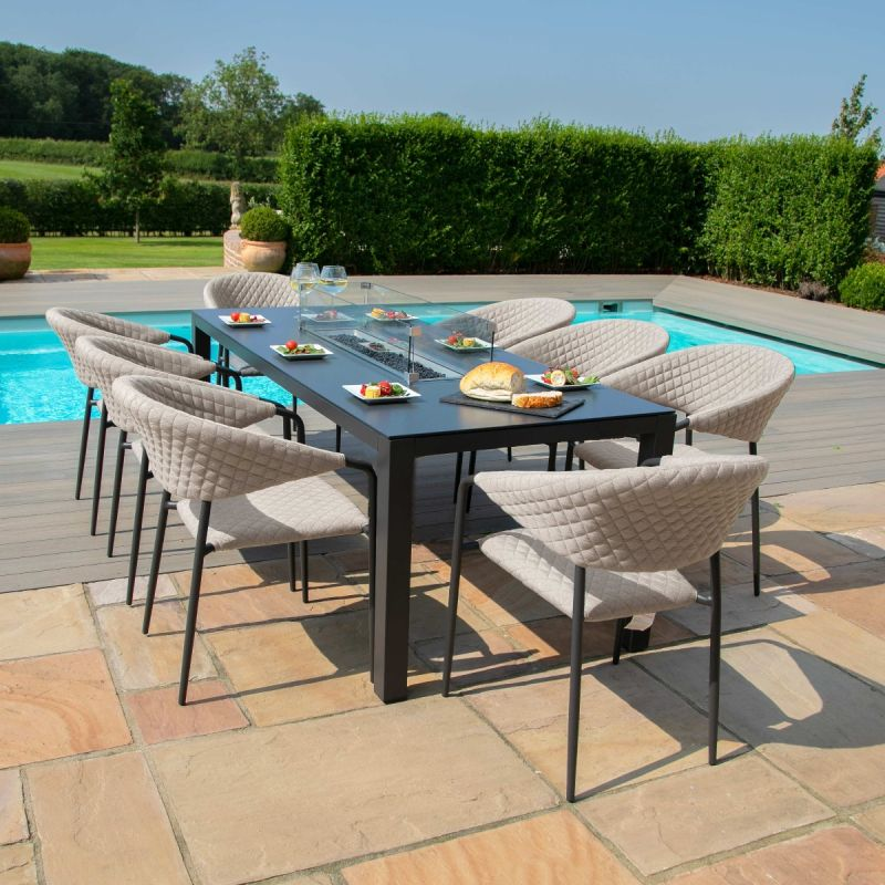 Maze Lounge - Outdoor Fabric Pebble 8 Seat Rectangular Dining Set - With Fire pit Table - Taupe