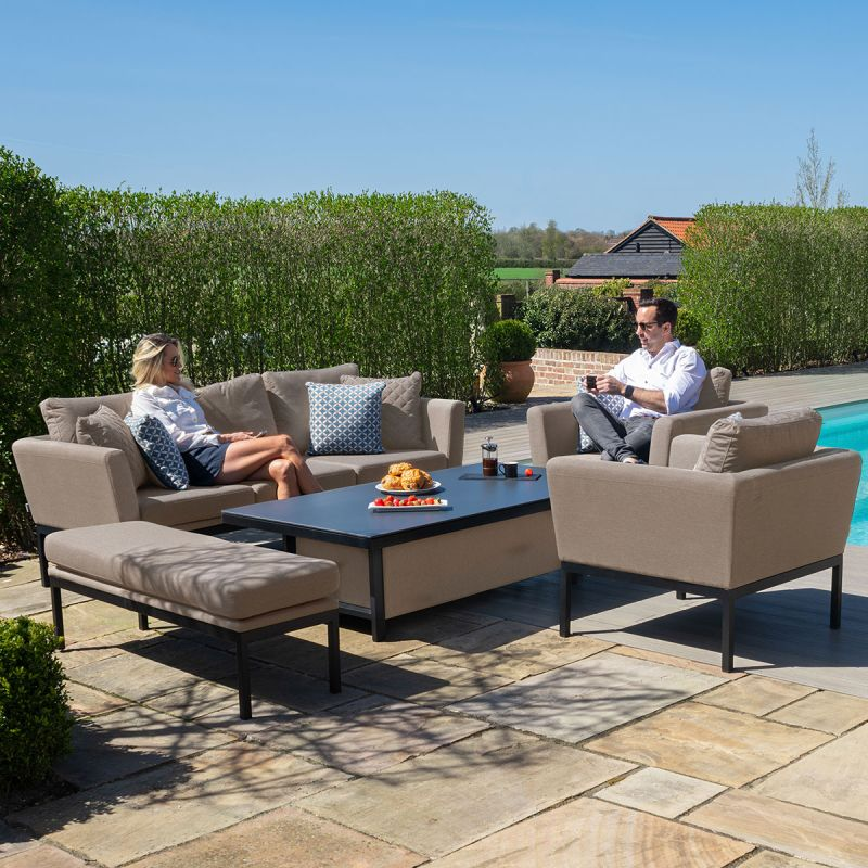 Maze Lounge - Outdoor Fabric Pulse 3 Seat Sofa Set with Rising Table - Taupe