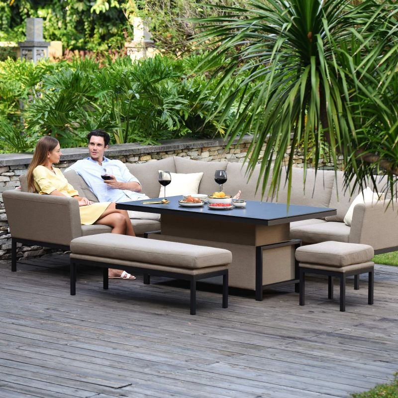 Maze - Outdoor Fabric Pulse Rectangular Corner Dining Set - With Rising Table - Taupe