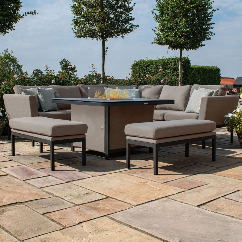 Maze Lounge - Pulse Deluxe Square Corner Dining Set - With Firepit Table - Taupe