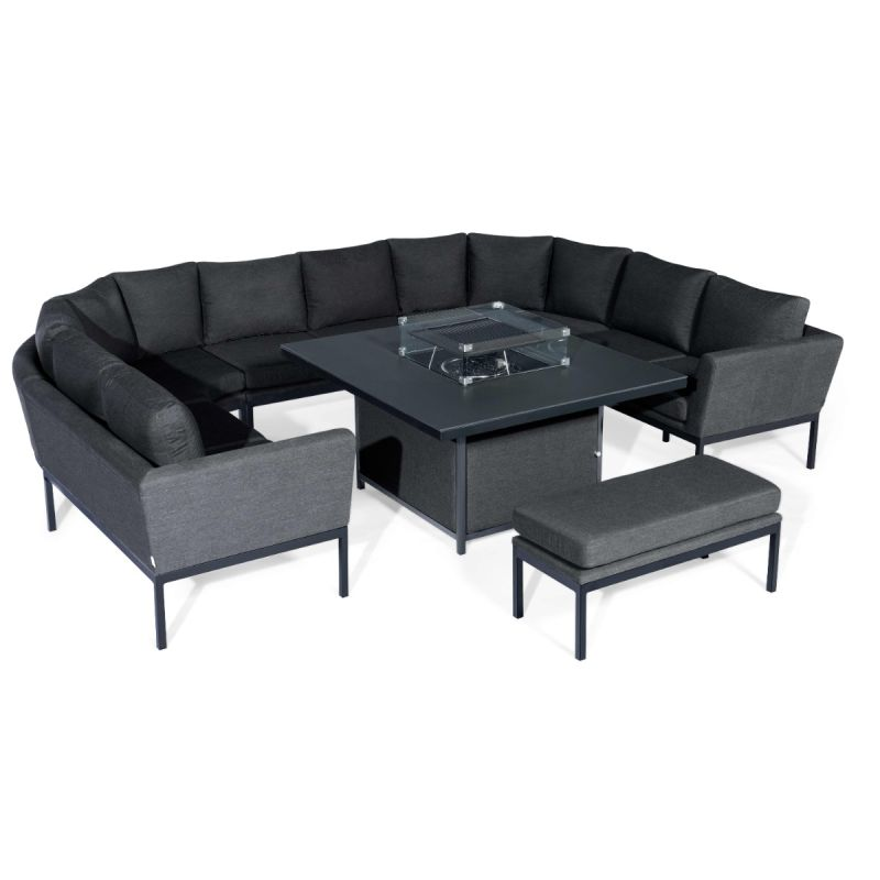 Maze Lounge - Outdoor Fabric Pulse U Shape Corner Dining Set - With Firepit Table - Charcoal