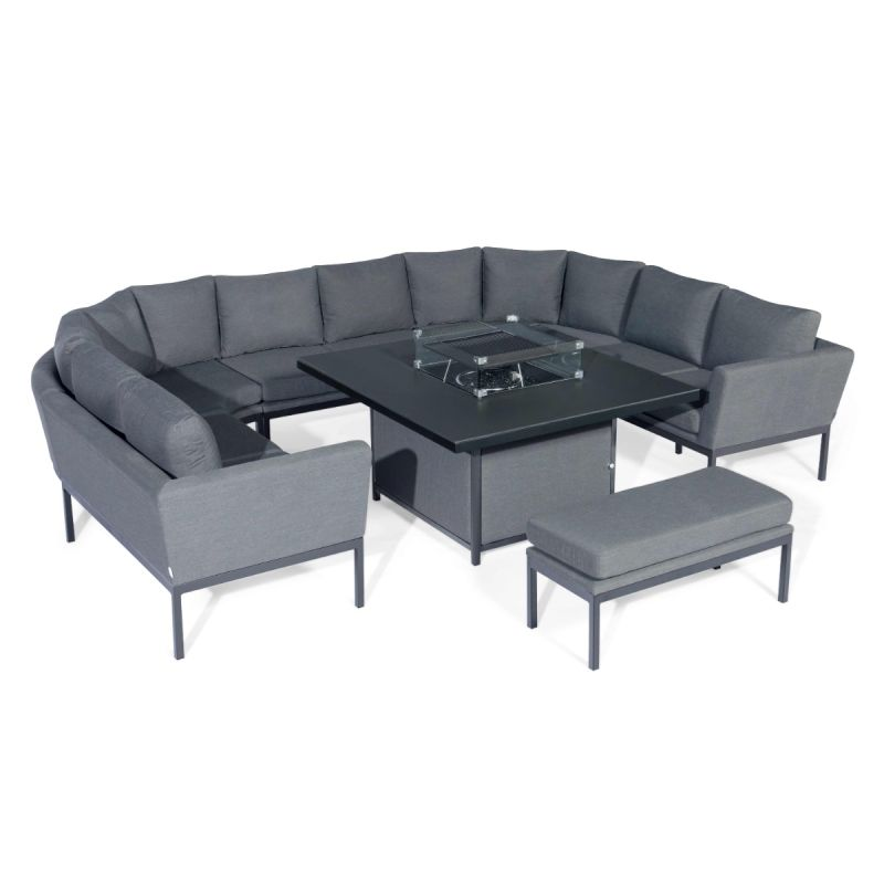 Maze Lounge - Outdoor Fabric Pulse U Shape Corner Dining Set - With Firepit Table - Flanelle