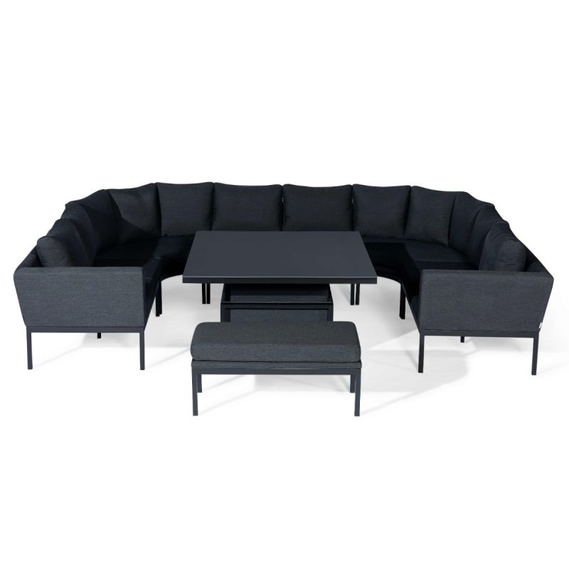 Maze Lounge - Outdoor Fabric Pulse U Shape Corner Dining Set - With Rising Table - Charcoal