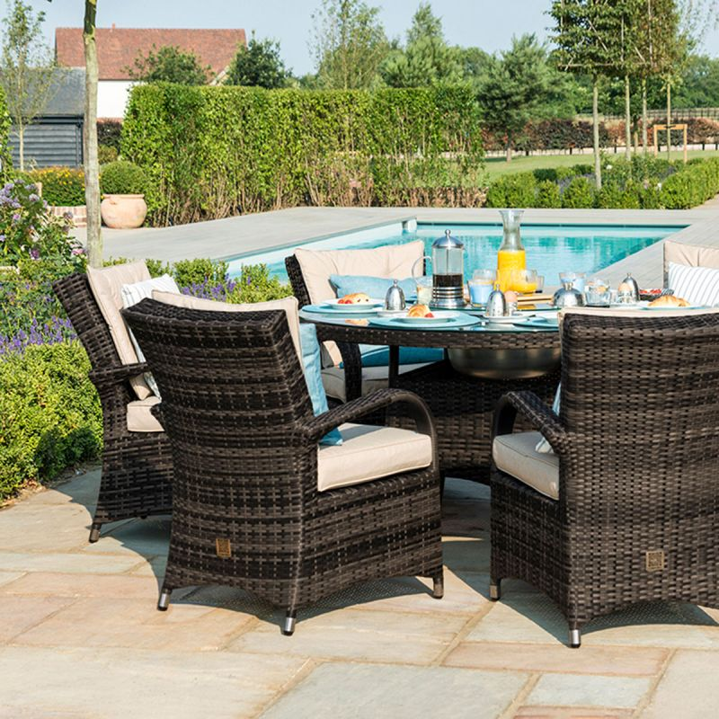 Maze Rattan - Texas 8 Seat Round Dining Set - With Ice Bucket & Lazy Susan - Brown