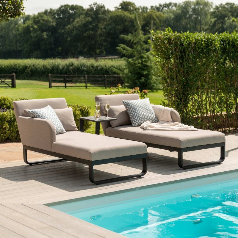 Maze Lounge - Outdoor Fabric Unity Double Sunlounger - Taupe