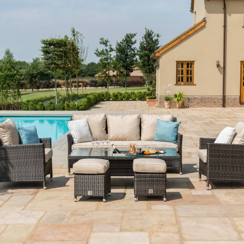 Maze Rattan - Venice Sofa Dining Set - With Ice Bucket & Rising Table - Brown