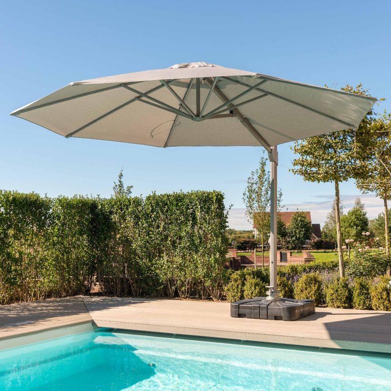 Maze - Zeus 3.5m Round Rotating Cantilever Parasol With LED Lights - Beige
