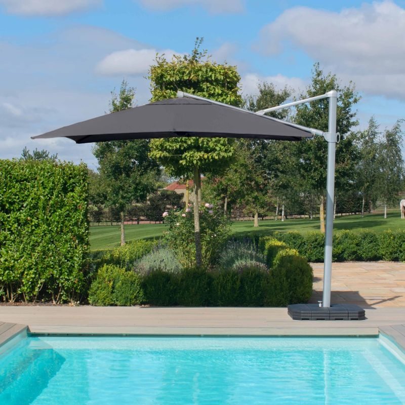 Maze - Zeus 3m Square Rotating Cantilever Parasol With LED Lights - Grey