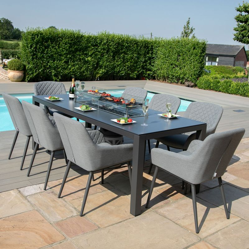 Maze Lounge - Outdoor Fabric Zest 8 Seat Rectangular Dining Set - With Fire pit Table - Flanelle