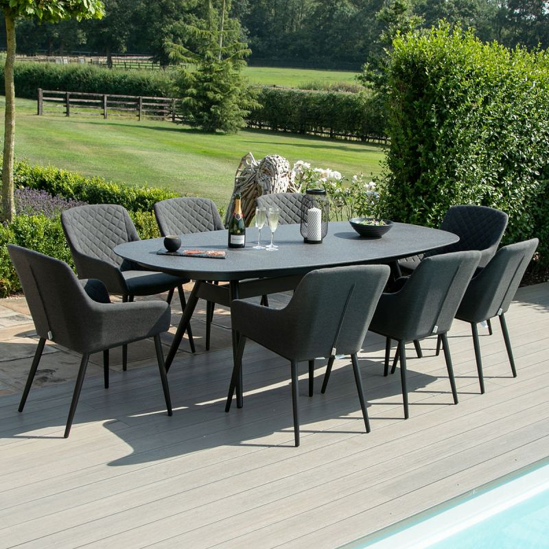 Maze Lounge - Outdoor Fabric Zest 8 Seat Oval Dining Set - Charcoal