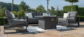 Maze - Amalfi 2 Seat Sofa Set with Square Fire Pit Table - Grey